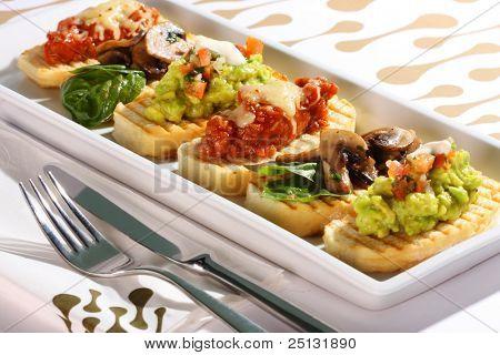 A selection of bruschetta