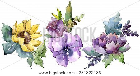 Watercolor Bouquet Flowers. Floral Botanical Flower. Isolated Illustration Element. Full Name Of The