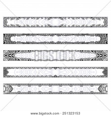 4 Horizontal Elegant Banners With Edging In The Style Of Hand Drawn Doodles. Templates Set Boho Styl