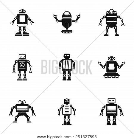 Electronic Robot Icons Set. Simple Set Of 9 Electronic Robot Vector Icons For Web Isolated On White