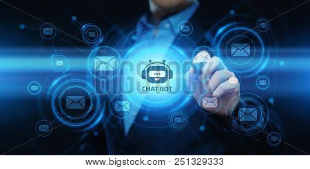 Chat Bot Robot Online Chatting Communication Business Internet Technology Concept.