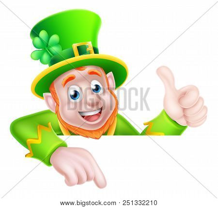 Leprechaun Cartoon St Patricks Day Character Peeking Above A Sign Pointing Down At It And Giving A T