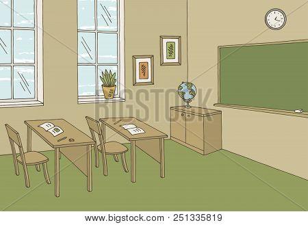 Classroom Graphic Color School Interior Sketch Illustration Vector
