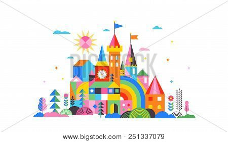 Geometric Fairy Tale Kingdom, Knight And Princess Magic Castle, Children Room, Class Wall Decoration