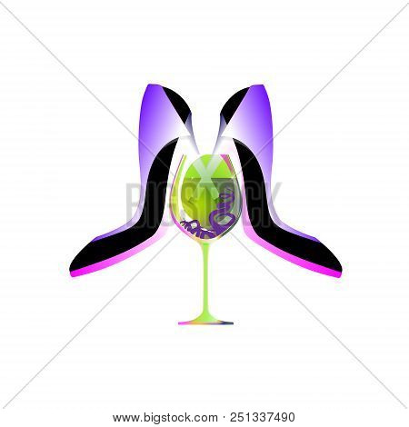 Business Party Logo, Biz Women, Absinthe Liqueur Shoe. Isolated Vector, Infographic And Social Media