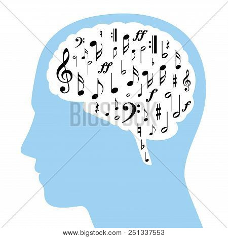 Musical Notes In A White Brain And Blue Silhouette Of A Head. Some Symbols From Musical Notation, Bl