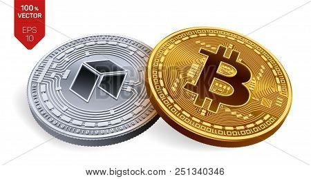 Bitcoin. Neo. 3d Isometric Physical Coins. Digital Currency. Cryptocurrency. Silver Coin With Neo Sy
