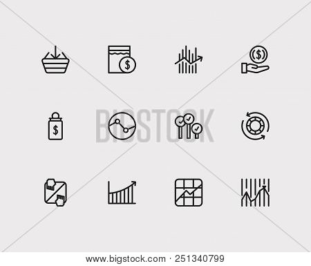 Finance Icons Set. Stock Market And Finance Icons With Stock Symbol, Invest Money And Rally. Set Of