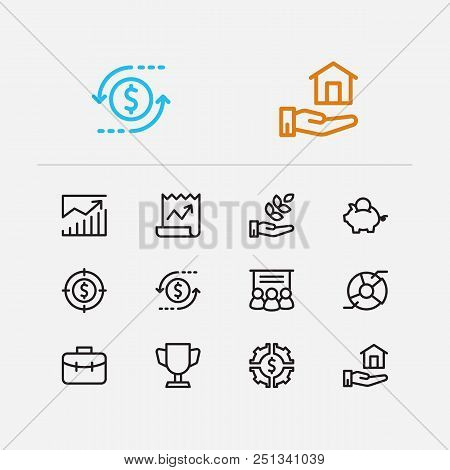 Economy Icons Set. Investment Target And Economy Icons With Investing Diversification, Stock News An