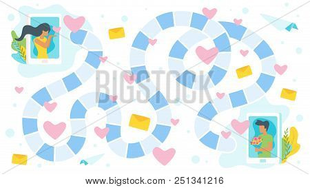 Vector Cartoon Style Illustration Of Valentine Day Board Game Template. Couple In Love Sending Messa