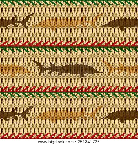 Knitted Woolen Seamless Pattern With Sturgeons In Vintage Beige Tones
