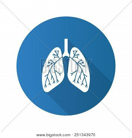 Human Lungs With Bronchi And Bronchioles Flat Design Long Shadow Glyph Icon. Respiratory System Anat