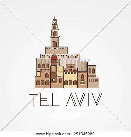 Jaffa Portr - The Symbol Of Tel Aviv, Israel. Trendy Vector Illustration, Flat Style. Stylish Colorf