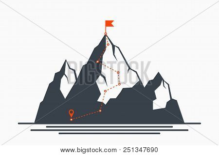 Mountain Climbing Route To Peak. Concept Of Path To Success And Goal, Way Of Progress. Plan For Clim