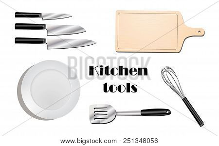 Kitchen Utensils Top View Realistic Set With Isolated Images Of Modern Style Flatware On Blank Backg