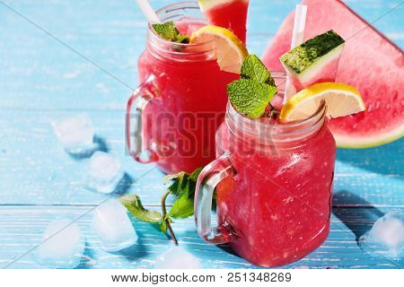 Watermelon Mojito With Mint, Rum, Ice And Lemons With Copyspace, Closeup