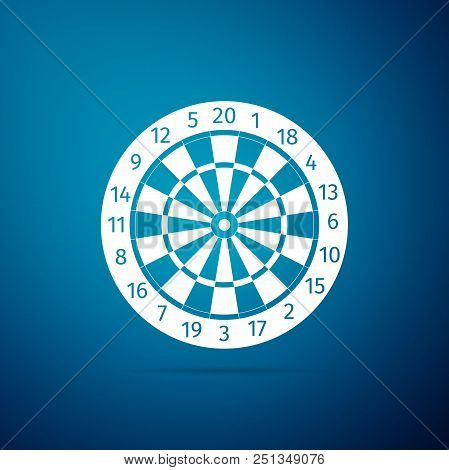 Classic Darts Board With Twenty Black And White Sectors Icon Isolated On Blue Background. Dart Board
