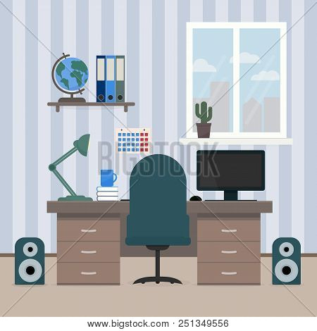 The Interior Room Of A Teenager. Workplace Of The Student. Desktop With Computer, Shelves With Books