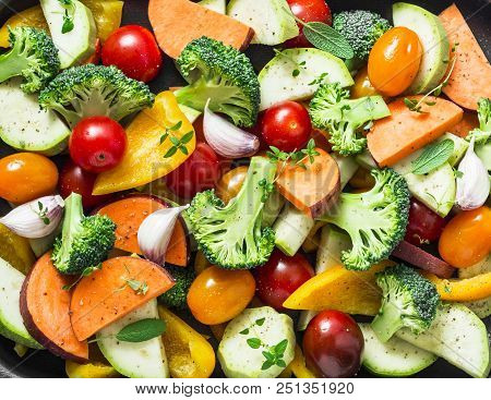 Cut Seasonal Raw Vegetables - Sweet Potatoes, Broccoli, Bell Peppers, Zucchini, Tomatoes, Onions, Ga