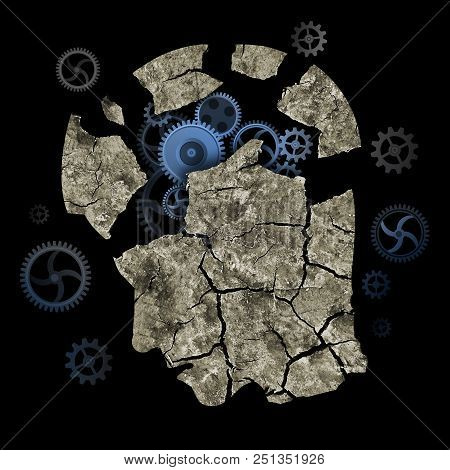 Dementia, Alzheimer Disease, Concept. Stylized Male Head Silhouette With Dry Cracked Earth And Gear