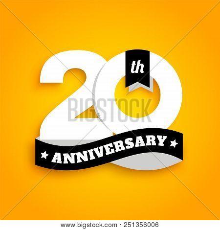 Twenty Years Anniversary Logo With Black Ribbon, 20th Years Celebration Isolated On Yellow Backgroun