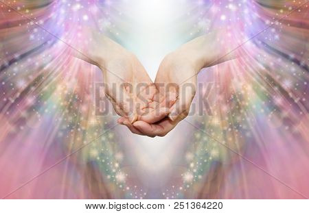 Energy Healer Receiving High Vibrational Energy - Female Cupped Hands And Shaft Of White Light Again