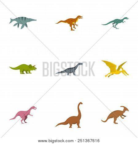 Wild Dinosaur Icons Set. Flat Set Of 9 Wild Dinosaur Vector Icons For Web Isolated On White Backgrou