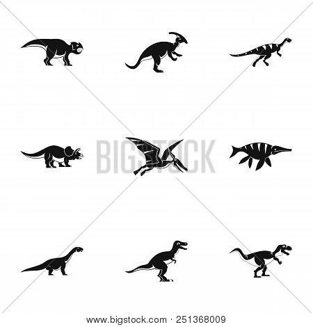 Wild Dinosaur Icons Set. Simple Set Of 9 Wild Dinosaur Vector Icons For Web Isolated On White Backgr