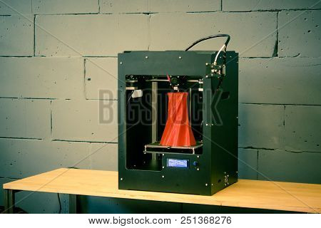 3d Printer Working Close Up. Automatic Three Dimensional 3d Printer Performs Plastic. Modern 3d Prin