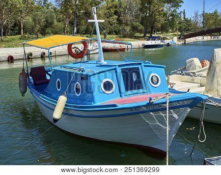Greek Boat Moored In Mikrolimano Port Of Piraeus. Attica, Greece.