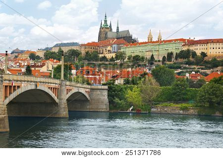 View Of Prague Castle (prazsky Hrad) Across Vltava River In Prague (praha), Czech Republic On A Beau
