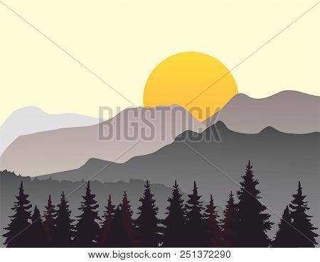 Vector Illustration Of Mountain Landscape Flat Nature Design.