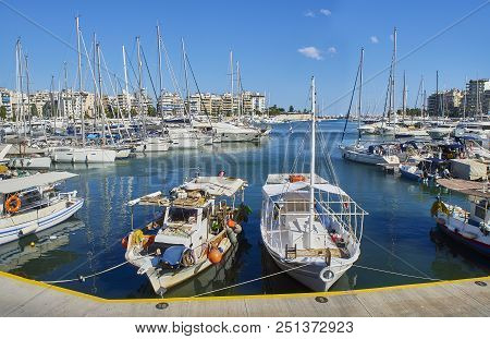 Fishing Boats Moored In Mikrolimano Harbour Of Piraeus. Attica, Greece.