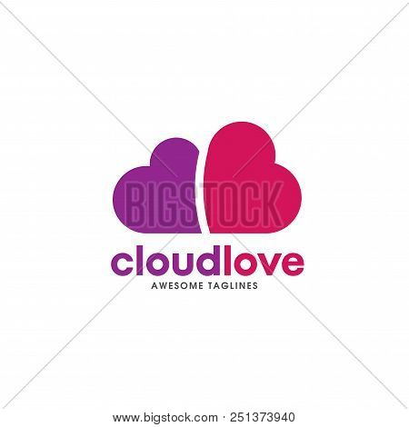 Heart  Logo Concept, Cloud Heart Logo,two Heart Shape, Love Logo Concept, Heart Logo, Heart Icon, Lo