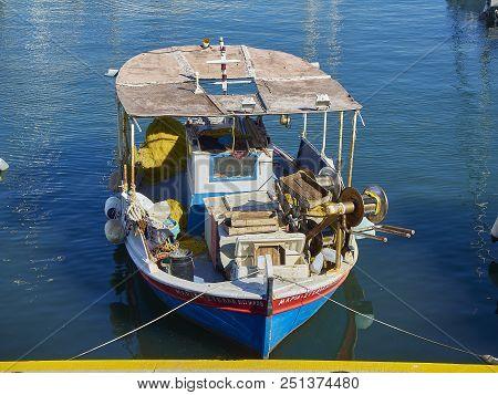 Fishing Boat Moored In Mikrolimano Harbour Of Piraeus. Attica, Greece.