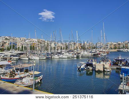 Yachts Moored In Mikrolimano Harbour Of Piraeus. Attica, Greece.