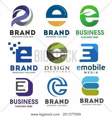 Elegant Letter E Logo Vector Set, Best Modern Elegant Letter E Logo Concept, Letter E Logo