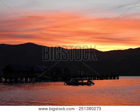 A Beautiful Sunset In The Bay Of Akaroa
