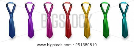 Realistic Vector Silk Satin Tie Set. Male Necktie For Business And Formal Clothing Accessory Attire,