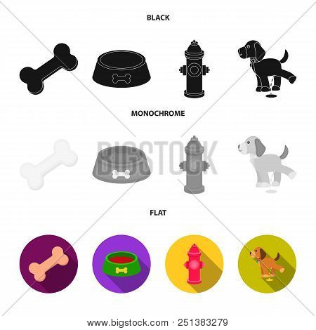 A Bone, A Fire Hydrant, A Bowl Of Food, A Pissing Dog.dog Set Collection Icons In Black, Flat, Monoc