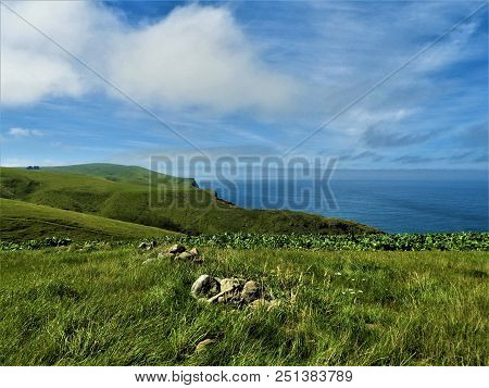 The Rolling Green Hills Roll Into The Blue Ocean