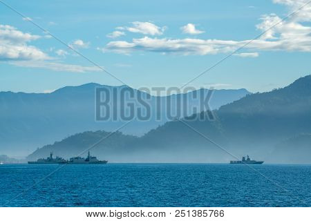 Padang,indonesia - April 16, 2016 : View Of  Padang Coast With Several Navy Ships Anchor Near The Co