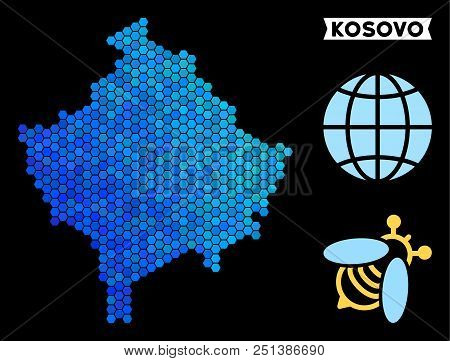 Blue Hexagon Kosovo Map. Geographic Map In Blue Color Shades On A Black Background. Vector Pattern O