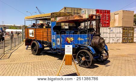 Sydney, Australia - October 6,2013 : Steam Truck Of Australian Navy Steam Club Parks At The Entrance
