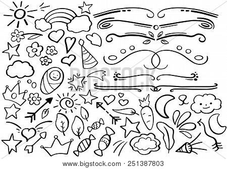 Black And White Doodle Borders. Handdrawn Vector Clipart. Funny Doodle Set In Freehand Style. Hand-d