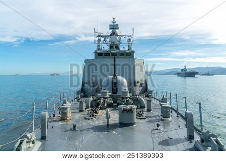 Combined Navy Fleet Comprise Of Several Type Of Ship Such As Aircraft Carrier, Destroyer, Frigate, O