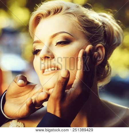 Adorable Face Of Pretty Girl Or Cute Woman With Beautiful Makeup And Blond Hair, Stylish Hairstyle,