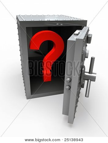 Question mark in open safe