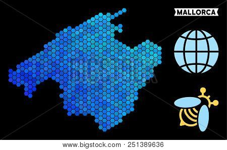 Hexagon Blue Spain Mallorca Island Map. Geographic Map In Blue Color Shades On A Black Background. V