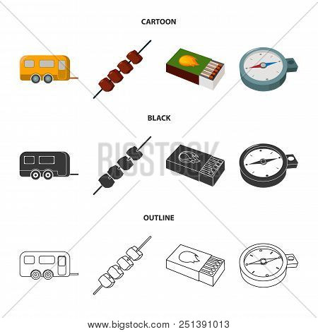 Trailer, Shish Kebab, Matches, Compass. Camping Set Collection Icons In Cartoon, Black, Outline Styl